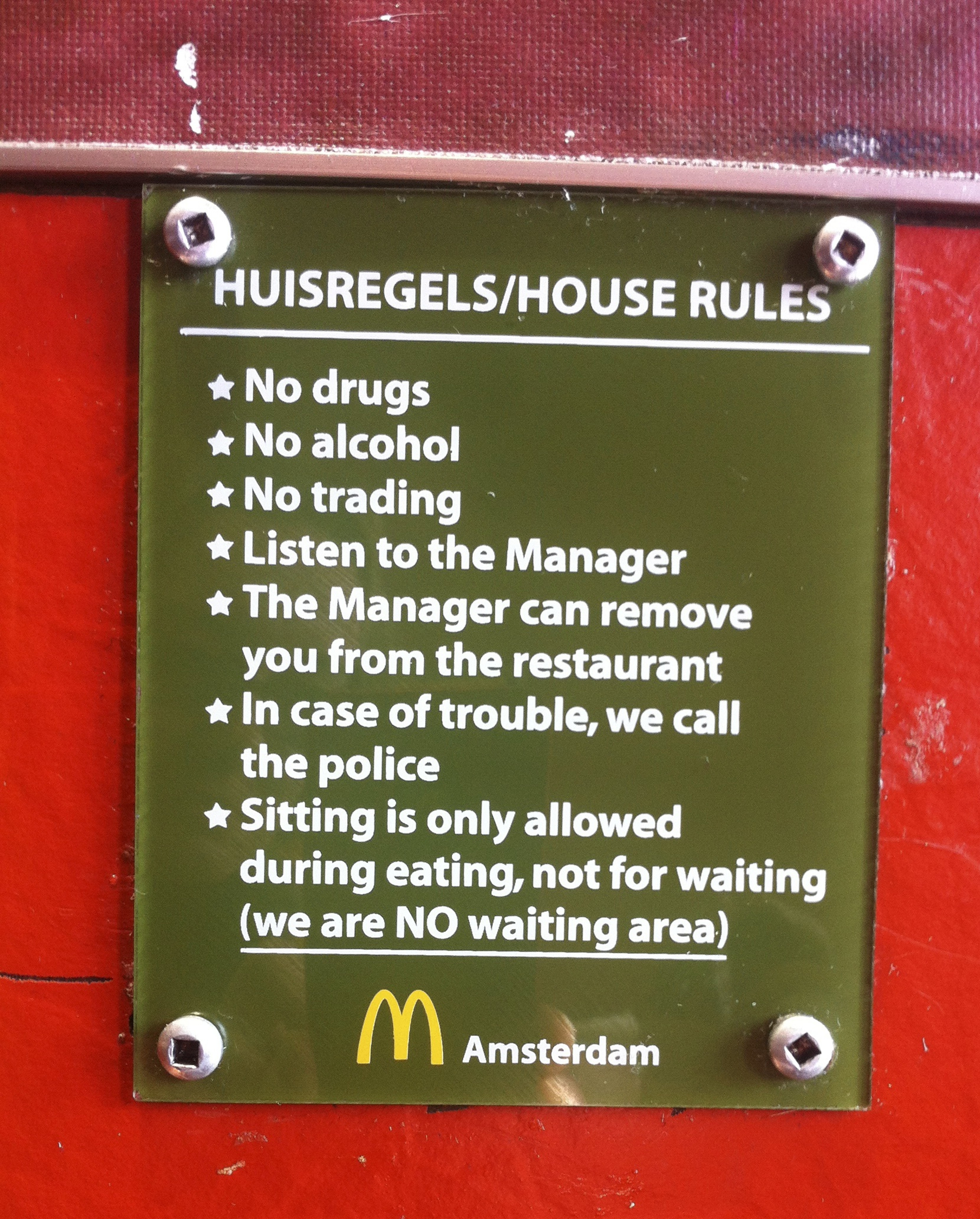 "McDonalds in Amsterdam…not to be confused with ""coffee shops"" in Amsterdam"