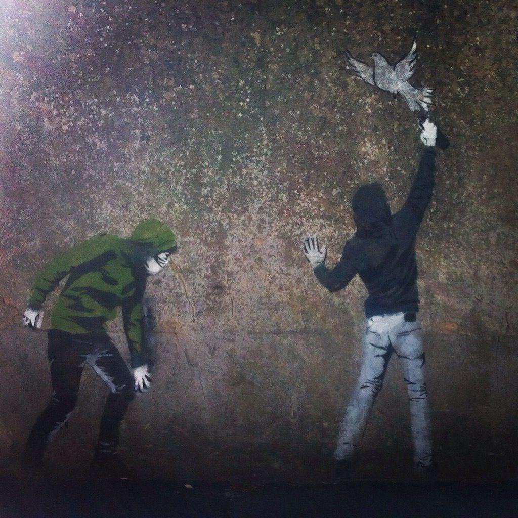 Banksy street art in Bayeux, France.