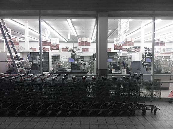 Empty shelves of a recently closed Safeway (©Deborah Clague)