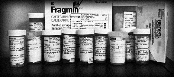 My father's medication to treat pain from Stage IV esophageal cancer.