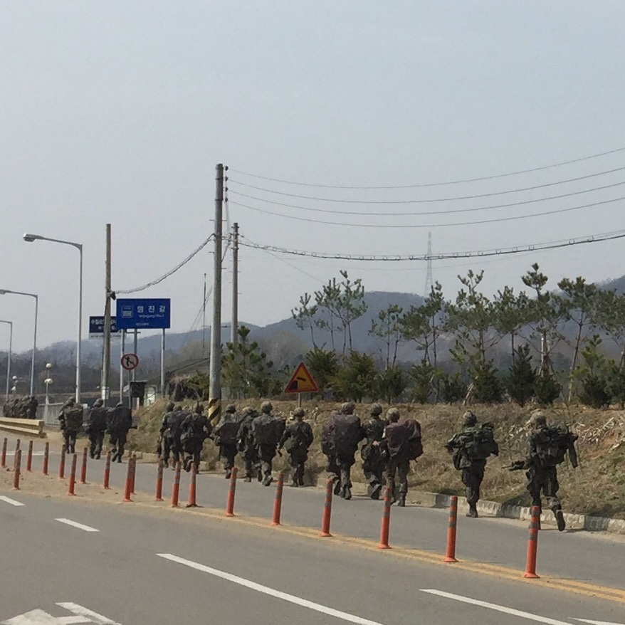 South Korean soldiers carry 30kg while hiking 30km as part of their training (©Deborah Clague/Oblada.com)