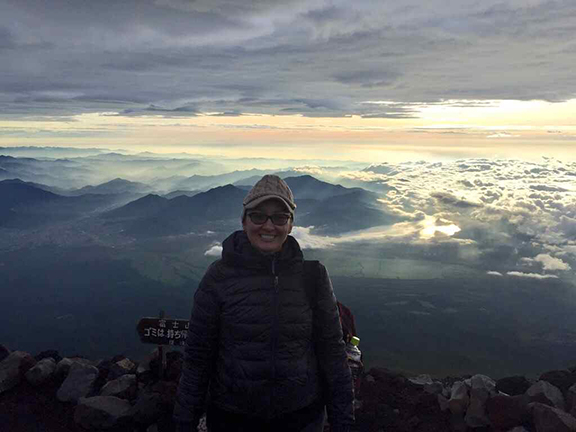 Proof that I made it – me at the summit of Mount Fuji (©Deborah Clague)