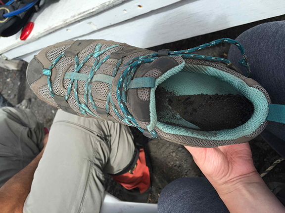 Hiking – and occasionally falling – in the deep ash on the way down was hard and necessitated emptying one's shoes of debris every 100 meters or so (©Deborah Clague)
