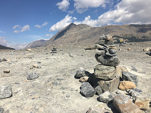 Inukshuk near the edge of Athabasca Glacier.