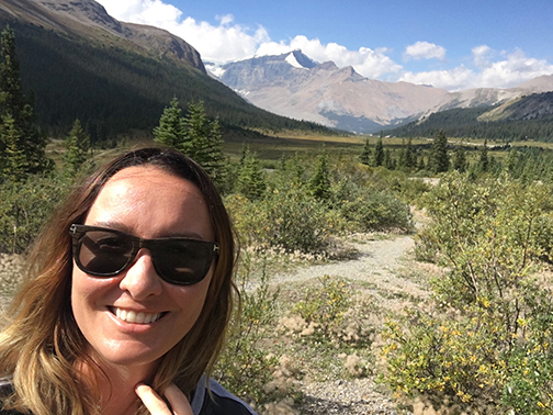 Hiking a beautiful valley in Jasper National Park.