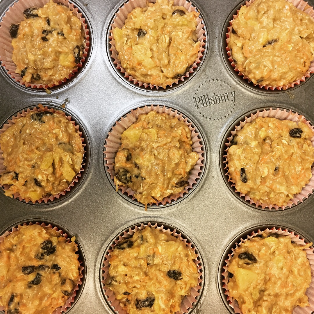 Good Morning Sunshine muffins with carrot, pineapple, coconut, macadamia nut and raisins (©Deborah Clague)