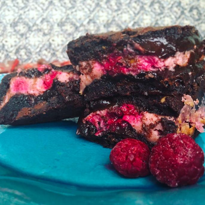 Peanut Butter and Raspberry Jam Cheesecake Brownies (©Deborah Clague)