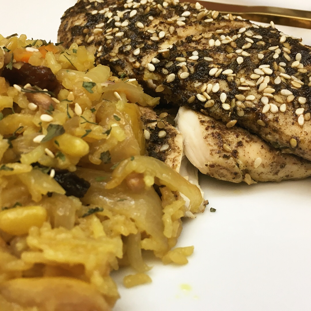 Za'atar lemon roasted chicken with saffron-infused pomegranate rice (©Deborah Clague)