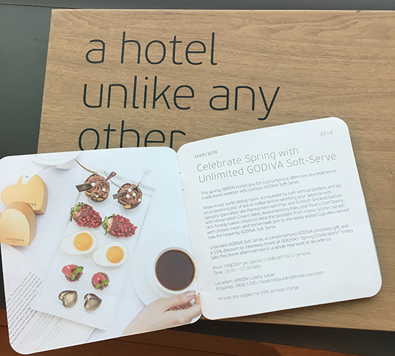 Godiva partnered with the hotel and was featured at their restaurants and a kiosk in the foyer (©Deborah Clague, 2018).