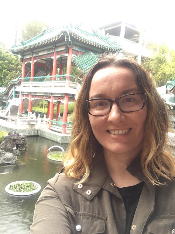 Me at the Good Wish Garden, Wong Tai Sin Temple, Hong Kong (©Deborah Clague, 2018).