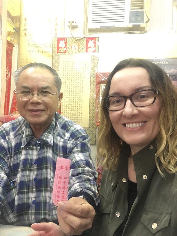 Getting my fortune read at Wong Tai Sin Temple, Hong Kong (©Deborah Clague, 2018).