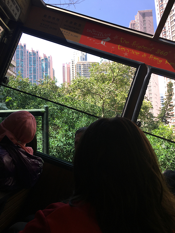 The angle of the tram while going up to The Peak (©Deborah Clague, 2018).