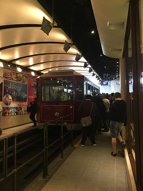 The Peak Tram (this is not the actual line; these are just the people who were let into the boarding area). (©Deborah Clague, 2018).