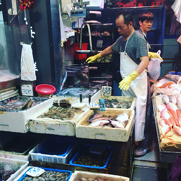 Meat market in the Central district of Hong Kong (©Deborah Clague, 2018).