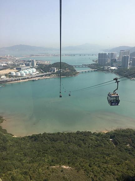 Going up the Ngong Ping 360 gondola on Lantau Island, China (©Deborah Clague, 2018).