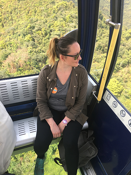Going up the Ngong Ping 360 glass-bottom gondola on Lantau Island, China (©Deborah Clague, 2018).