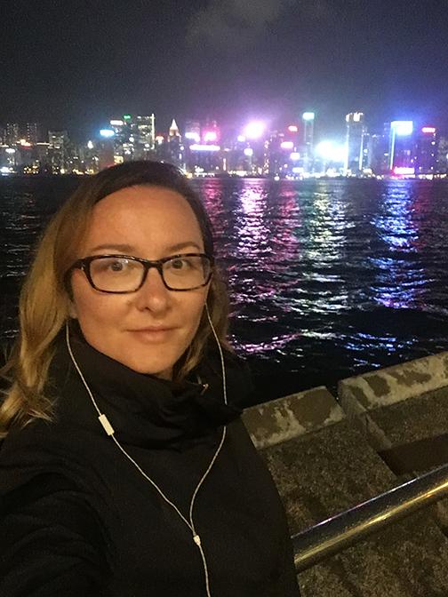 Walking along the promenade at night, Hong Kong (©Deborah Clague, 2018).