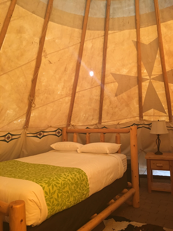 Interior of teepee, Williams, Arizona (©Deborah Clague, 2018).