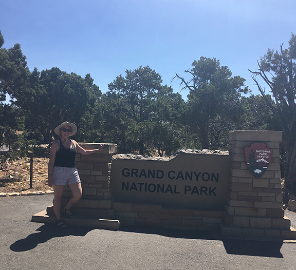 Me at the entrance to the Grand Canyon (©Deborah Clague, 2018).