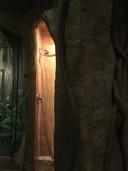 Shower in a tree trunk, Black Swan Inn, Pocatello, Idaho (©2018, Deborah Clague).