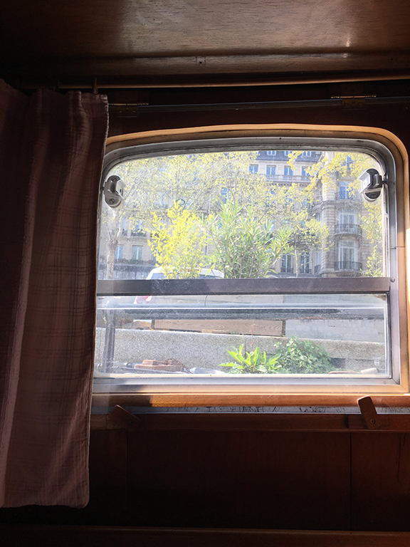 View from the lower deck sitting area on the Bateau de Johanna de Paris (©Deborah Clague, 2019).