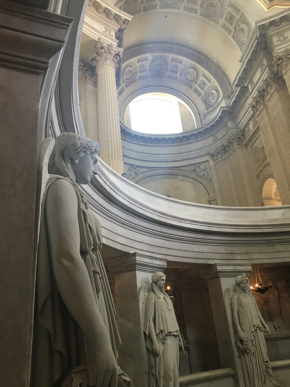 Each statue surrounding Napoleon's tomb represents one of his victorious military campaigns, Les Invalides (©Deborah Clague, 2019).