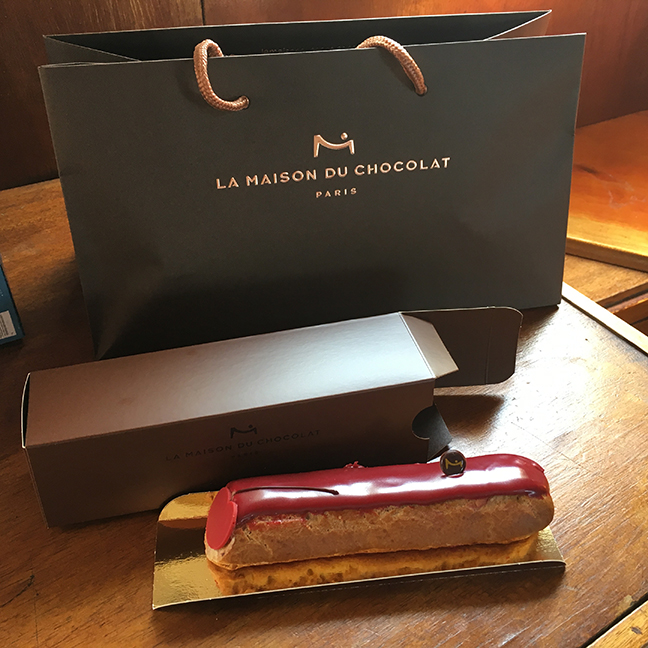 The first indulgence during my trip - a morello cherry eclair from La Maison du Chocolat. Absolutely delicious (©Deborah Clague, 2019).