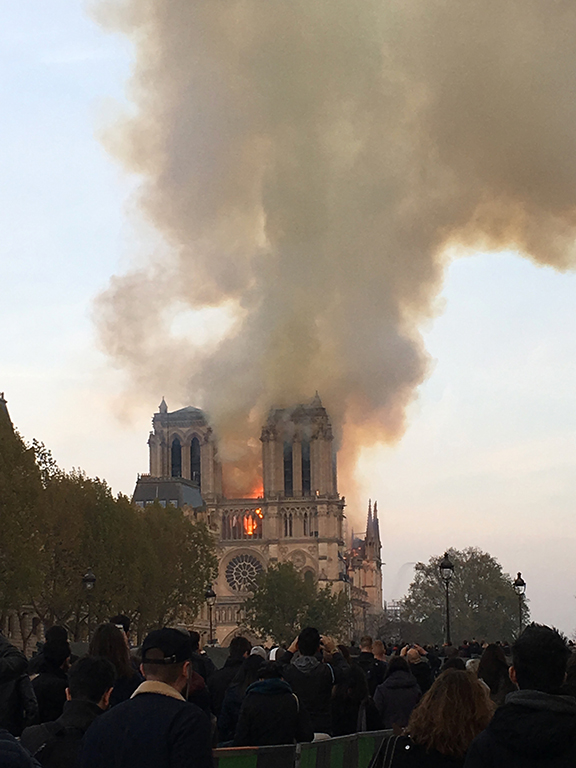 Notre-Dame Cathedral burns on April 15, 2019 (©Deborah Clague, 2019).
