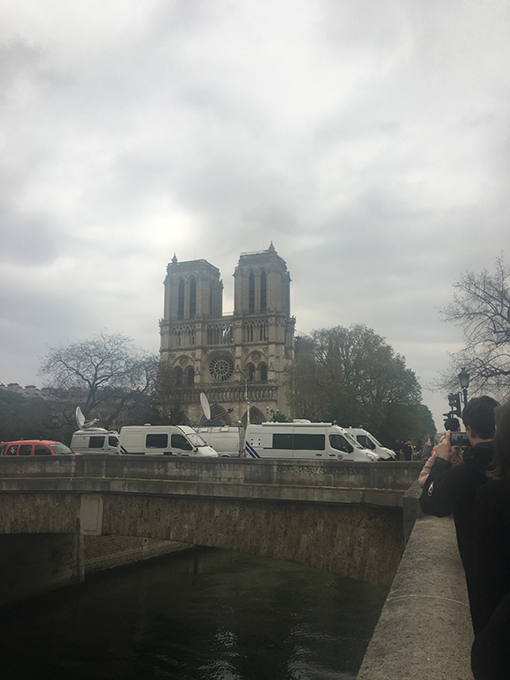World media descends upon Notre-Dame Cathedral the day after the fire, Paris (©Deborah Clague, 2019).