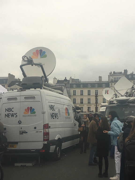 World media descends upon Notre-Dame Cathedral the day after the fire (©Deborah Clague, 2019).