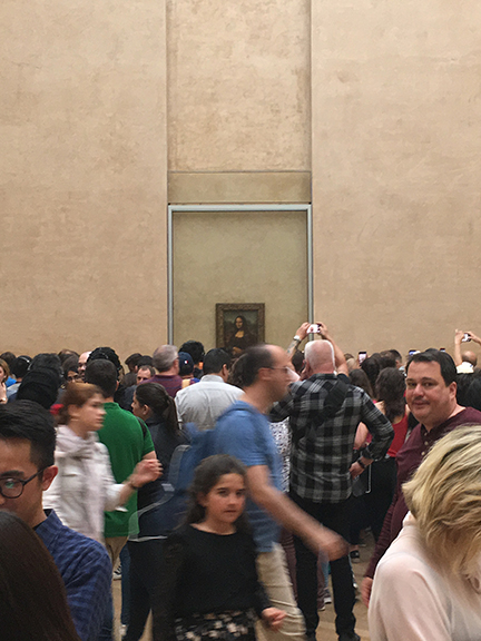 This is as close as I got to the iconic Mona Lisa by Leonardo Di Vinci, Paris (©Deborah Clague, 2019).