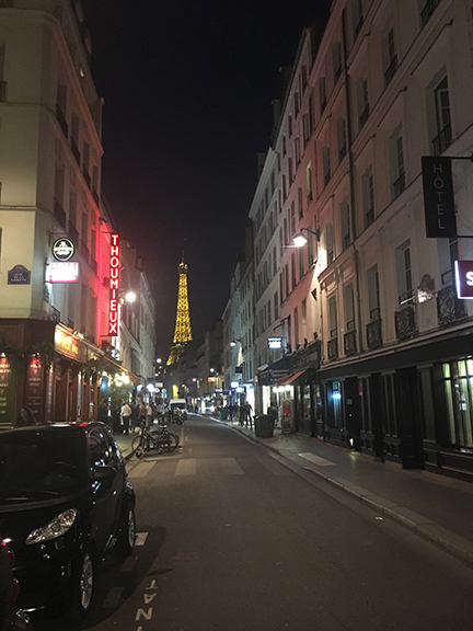 This is the street view I got to enjoy every day (and night) as my rental apartment was located here, Paris (©Deborah Clague, 2019).