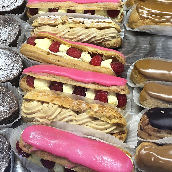 Next indulgence: raspberry eclairs from a small bakery near the Eiffel Tower (©Deborah Clague, 2019).