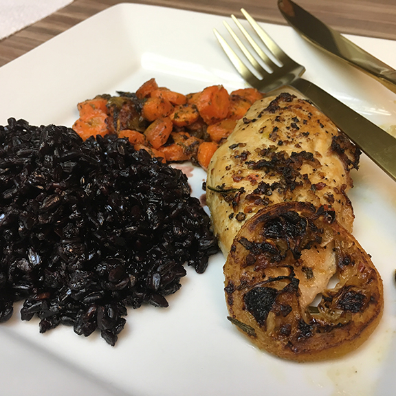 Lemon garlic rosemary chicken with herbed vegetables and black rice (©Deborah Clague, 2019).