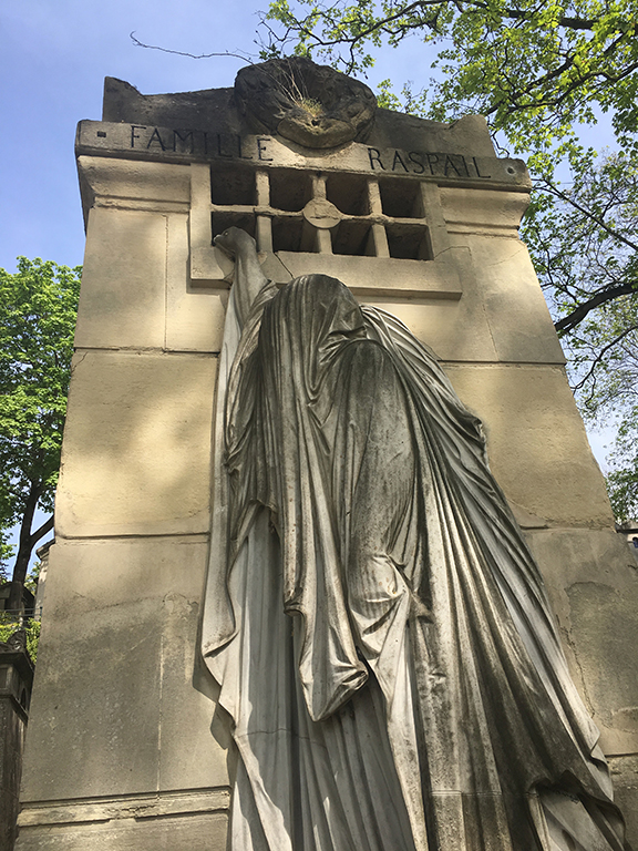 This grave in Pére Lachaise Cemetary in Paris, France is stunningly beautiful and haunting. It's been  featured as artwork on album covers  (©Deborah Clague, 2019).
