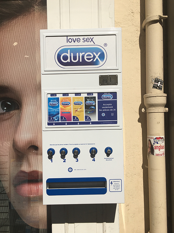 In the City of Love, condom machines are readily available on the street, Paris (©Deborah Clague, 2019).