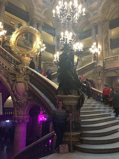 The gold tire adds a classy touch; the Grand Staircase, Palais Garnier, Paris (©Deborah Clague, 2019).