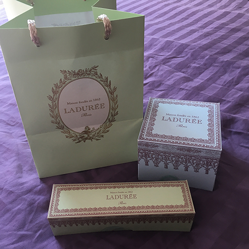 A sample of French packaging which always elevates the consumer experience. This is how my desserts from Laduree were presented (©Deborah Clague, 2019).