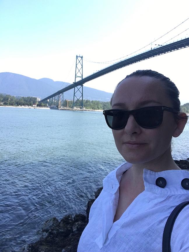 Trekking under the Lion's Gate Bridge, Stanley Park, Vancouver (©Deborah Clague, 2019).