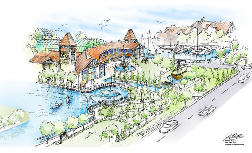 """A rendering of the initial proposed """"Pier B"""" project."""