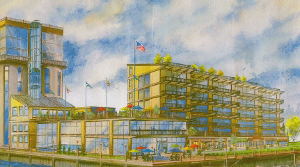"""An early design iteration for the proposed """"Pier B"""" project."""