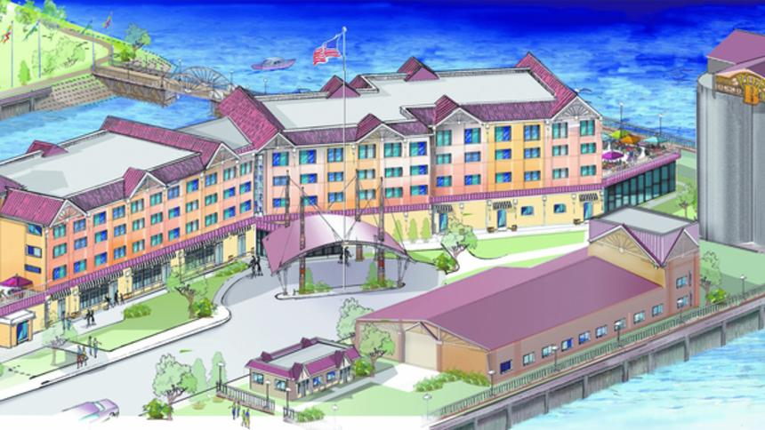 """The latest rendering of """"The Silos at Pier B"""" resort project."""