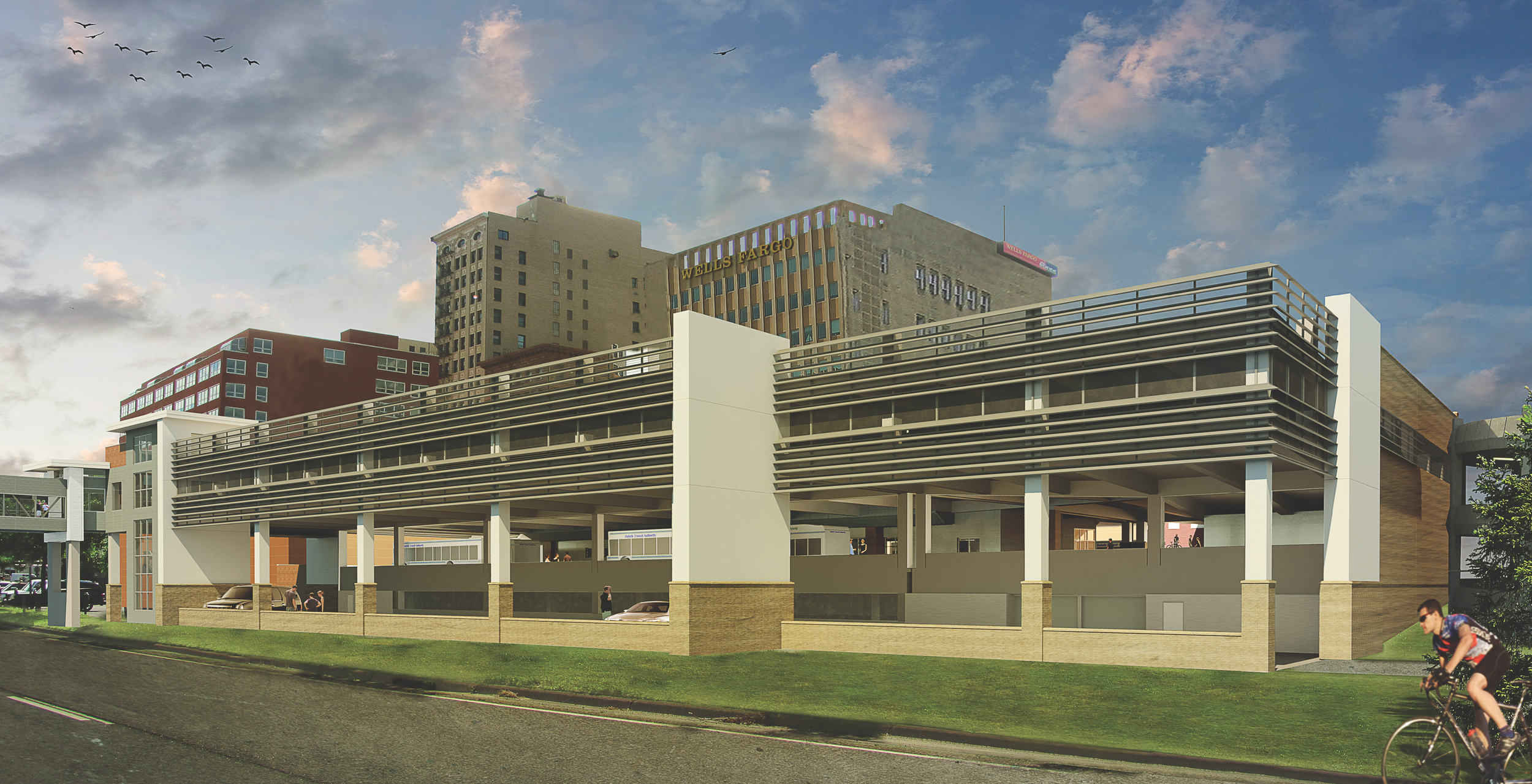 New parking ramp to be constructed as seen from I35. IMAGE: LHB CORP