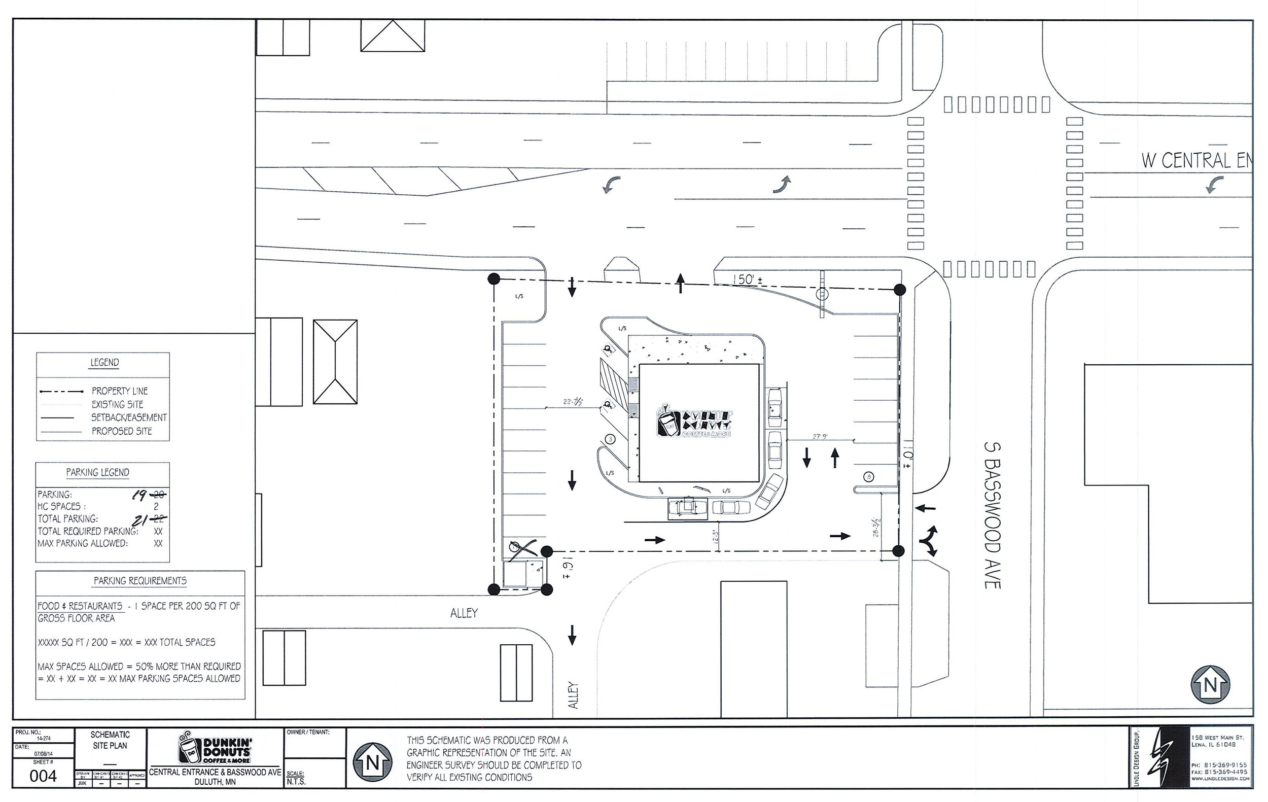Above:  Site plan showing the exact location of the planned Dunkin' Donuts at 104 West Central Entrance  (Image provided by Duluth Planning Commission)