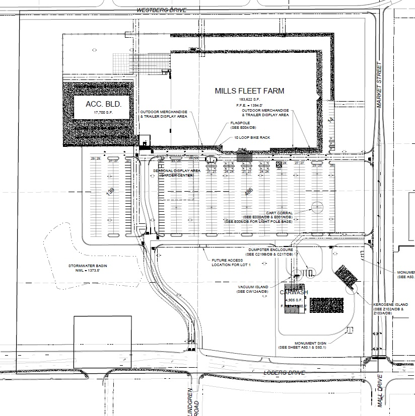 Above:   Site Plan for the Hermantown Mills Fleet Farm location.   (Image provided by the Hermantown Community Development department)