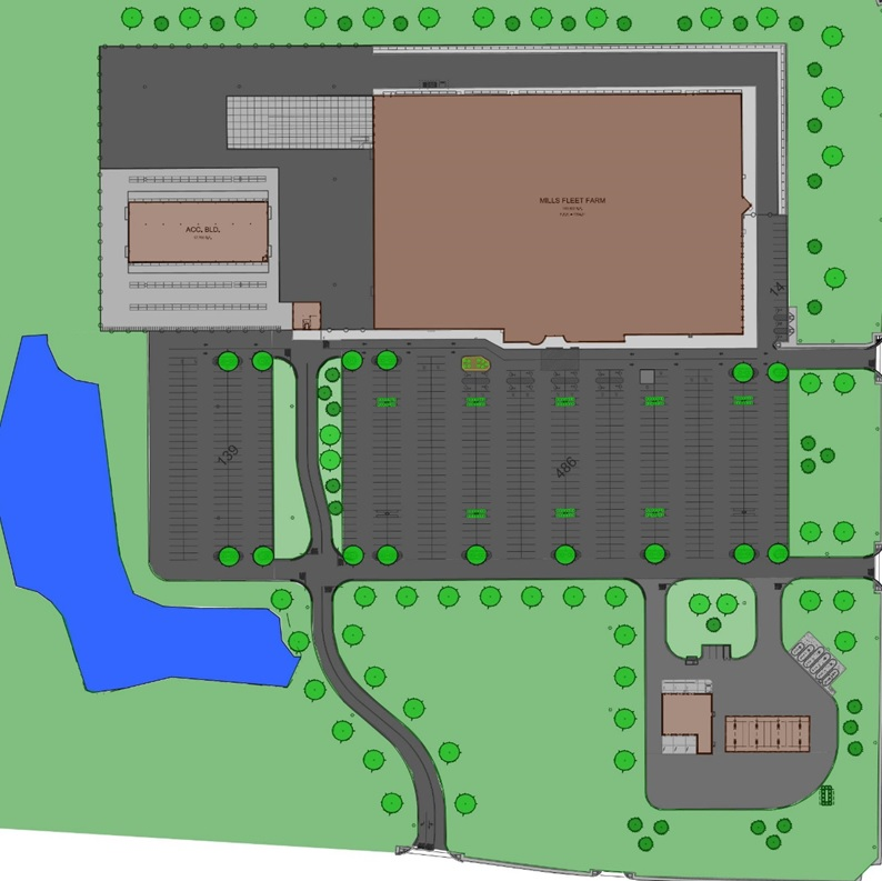Above:  Landscape plan for the Hermantown Mills Fleet Farm location.  (Image provided by the Hermantown Community Development department)
