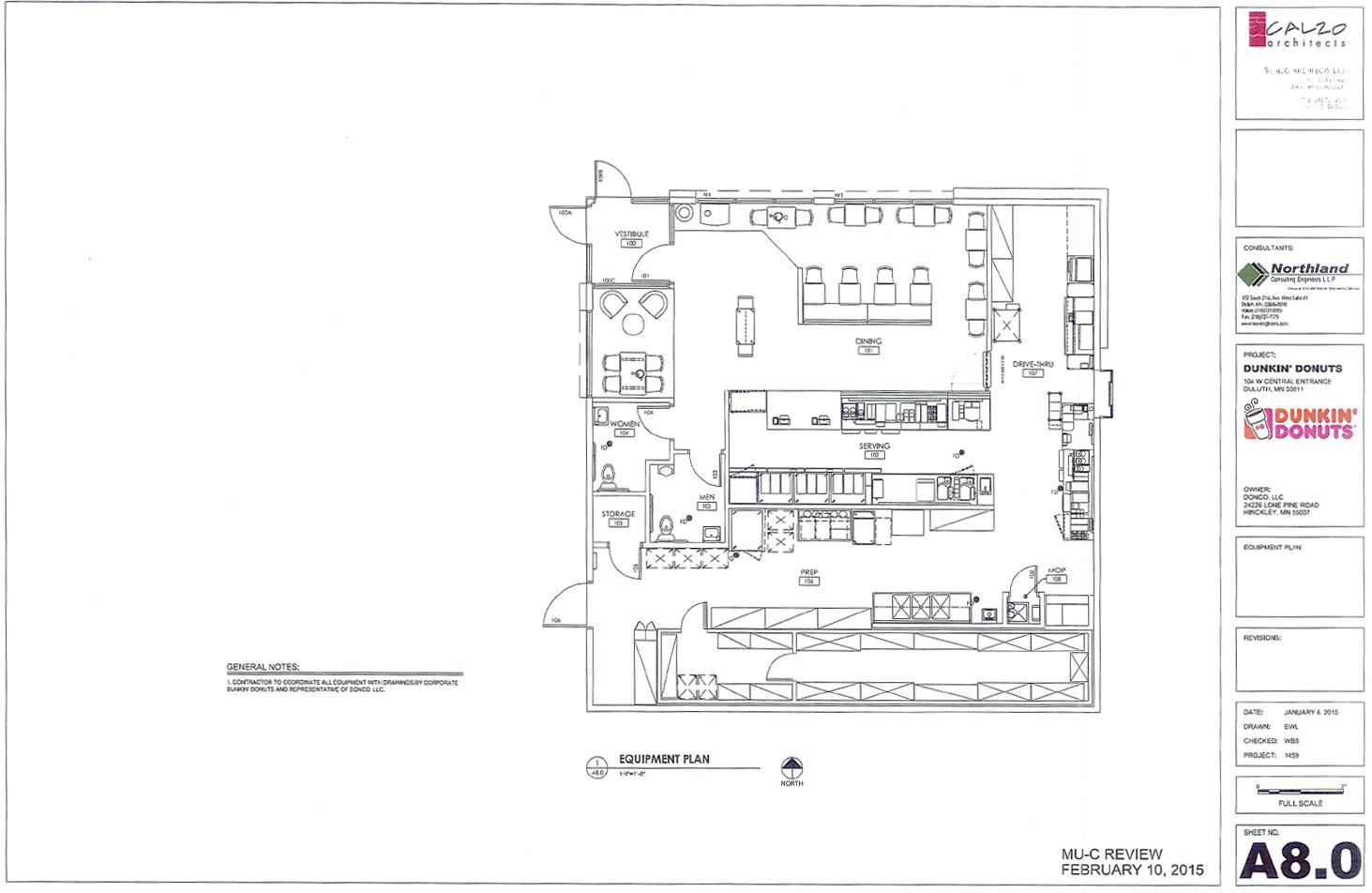 Floor plan of the newDunkin' Donuts location