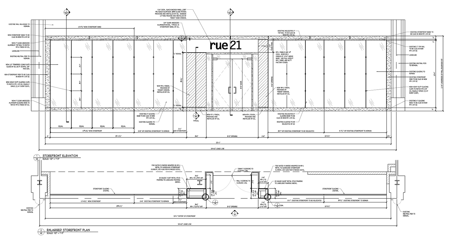 Above:  Rue21 store front design