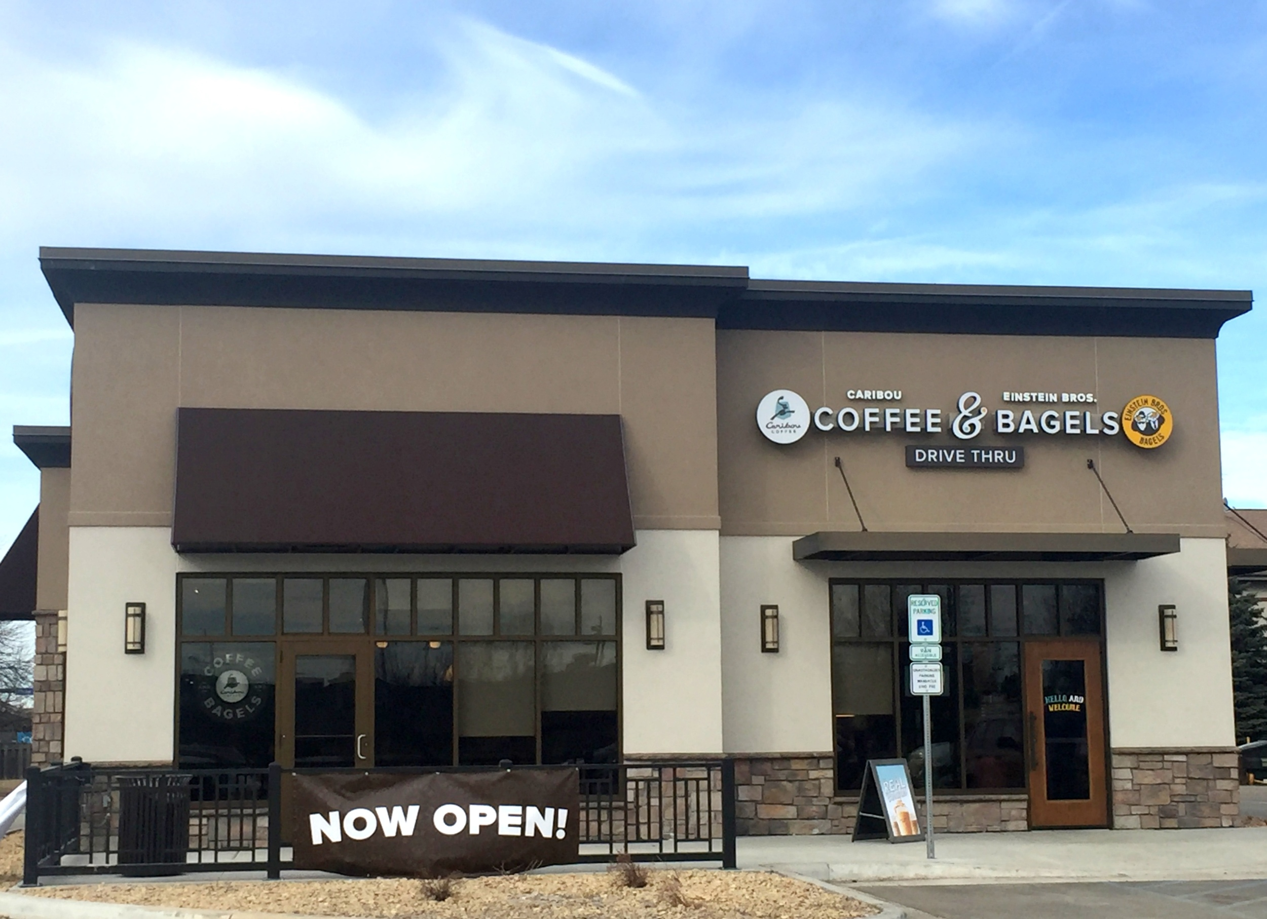 Exterior of a recently opened Caribou Coffee and Einstein Brothers Bagels location in Grand Forks | Grand Forks Herald