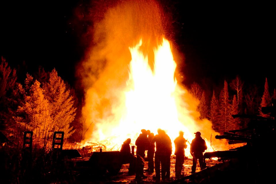 Annual Winter Bonfire on Madeline Island by Jerry Smith
